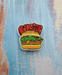 """Деревянный значок """"Бургер с котлетой"""""""