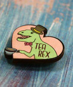 Деревянный значок Tea Rex
