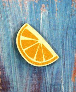 Деревянный значок Долька апельсина