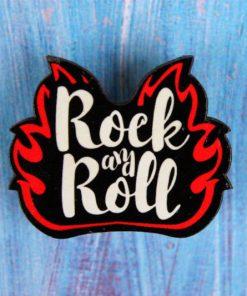 Деревянный значок Rock and Roll пламя