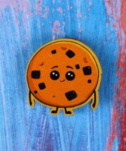 Деревянный значок Печенька с шоколадом