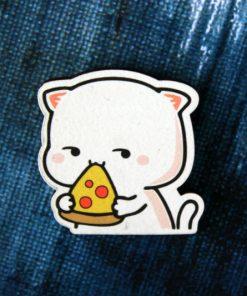 Деревянный значок Котик с пиццей