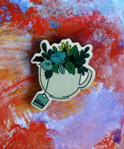 Деревянный значок Чашка с цветами