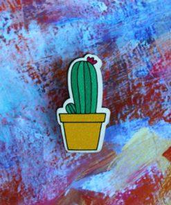 Деревянный значок Цветущий кактус