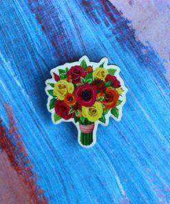 Деревянный значок Букет красные цветы