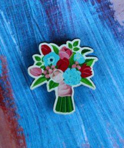 Деревянный значок Букет синие цветы