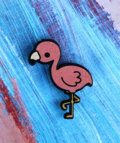 Деревянный значок Фламинго