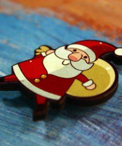 Деревянный значок Санта-Клаус