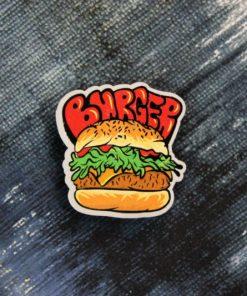 Деревянный значок Бургер с котлетой