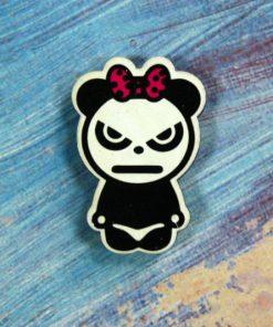 Деревянный значок Сердитая панда